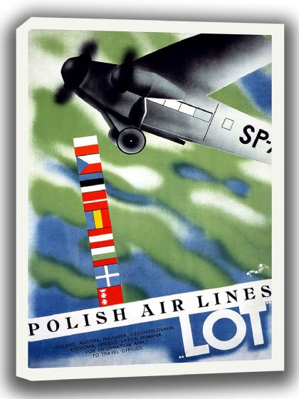 Polish Airlines. Vintage Travel/Tourism Canvas. Sizes: A4/A3/A2/A1 (002722)